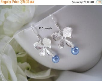Summer Sale Orchid and Pearl Earrings - Pick your Color