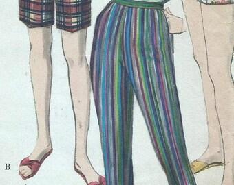 ChristmasinJuly Vintage 60s Vogue 5126 Misses Cigarette Pants, Capri Pants, Walking Shorts and Short Shorts Sewing Pattern Waist Size 26