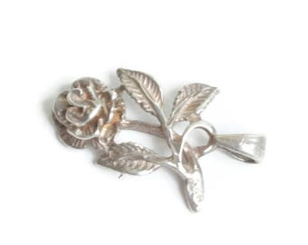 Sterling Silver Rose Pendant or Charm Dimensional Detailed Vintage