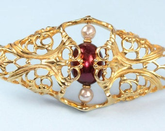 Napier Faux Pearl Filigree Brooch Diamond Shaped Burgundy Pearl Book Piece 1985 Worldly Temptations