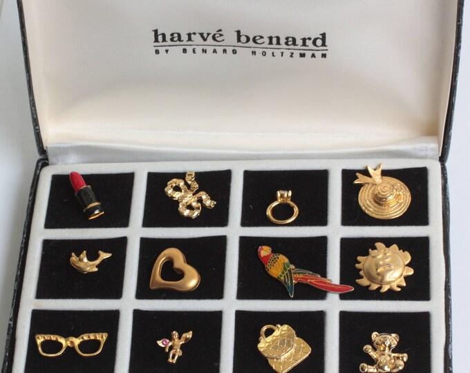 Harve Benard Tac Pins Set of 12 Original Box Gold Tone Vintage