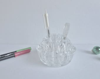 Vintage Clear Glass Flower Frog - Flower Arranging Base - Pencil Holder, Desk Organizer
