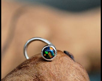 Black Opal Nose Stud / Nose Ring / Gemstone Nose Ring / Rock Your Nose / Unique Nose Jewelry  -  CUSTOMIZE
