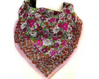 1970s Mod Shades of Pink Flower Power Square Vintage Polyester Scarf
