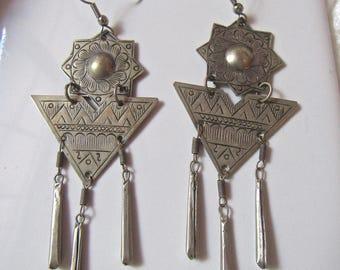 Vintage Tribal Geometric Silver Dangle Earrings Native American Style Handmade Ethnic Statement Earrings Drop Earrings/ Boho Dangle Earrings