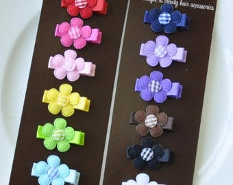 SUMMER SALE Infant Hair Bows - Infant Hair Clips - Toddler Hair Clips - Rainbow - 12-Pack Small Alligator Clips - Babies, Infants, Toddlers