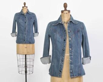 Vintage 70s Denim Jacket / 1970s Blue Jean Snap Front Shirt
