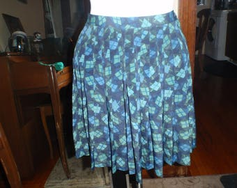 Vintage Blue Pleated Skirt Size Small