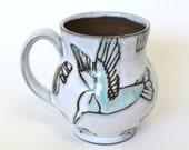 Mug 16 oz ,  White and Green , Hummingbird Print Leaf Print