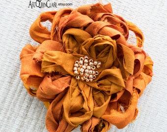 Burnt Orange Fabric Flower Pin, Muted Orange Flower Brooch, Pumpkin Orange Beaded Flower Brooch