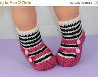 40% OFF SALE Instant Digital File pdf download knitting pattern - Children's Stripe Sock 2 Strap Slippers