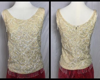 1950s or 60s Gimbels Sequinned and Beaded Tank - Size Small