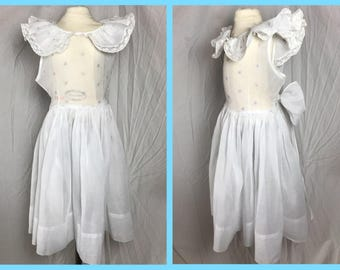 1950s Little Girl's Organza Party Dress with Flutter Collar by Little Women of California - Size 8 10