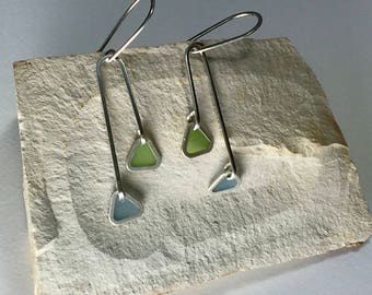 Silver and Resin Mid-Century Modern Earrings in Blue and Green/ Spring and Summer Chandelier Earrings