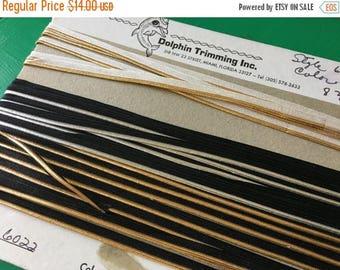 Christmas Sale Vintage 1970s Metallic White Black Sewing Trim On Card Elastic Gold Silver