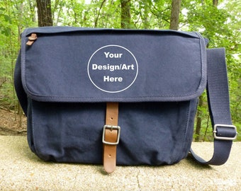 Canvas and Leather Messenger School / Laptop Bag - Alternative Aparrel - Custom Hand Painted Art!