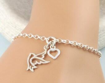 Dove Bracelet - Sterling Silver Dove and Heart Bracelet - peace dove, bird jewelry