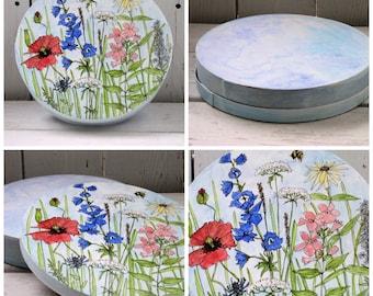Watercolor Painted Wood Box Garden Flowers Keepsake