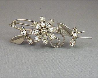 Krementz Silvertone Crystal Rhinestone Flower Brooch