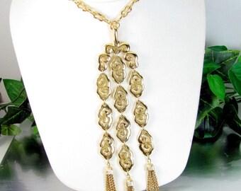 "Vintage Crown Trifari Bib Tassel Necklace Gold Tone Pendant 6"" Drop"