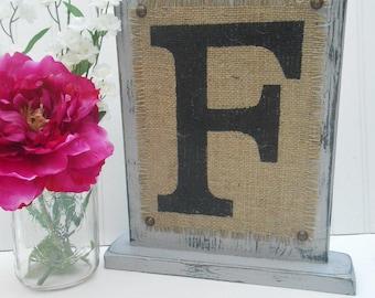 Table sign wedding monogram, rustic burlap, home decor, shabby cottage style, a,b,c,d,e,f,g,h,i,j,k,l,m,n,o,p,q,r,s,t,u,v,w,x,y,z, beach