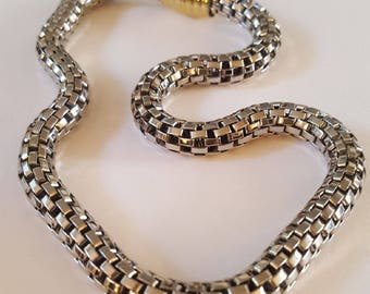 Vintage 2-Tone Silver and Gold Tone Metal Flexi Chain Necklace