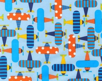 Remnant end of bolt 24x44 inches Ready Set Go Planes Sky Ann Kelle Designs Robert Kaufman Fabric