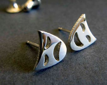 Drama Stud Earrings. Comedy & Tragedy Masks for actors. Sterling silver or 14k Gold. Love Acting. Theatrical play. Greek Theatre. Unique.