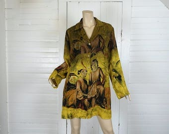 90s Silk Tunic In Chartruese & Olive Green- Meditating Girls Print- Medium- Long Blouse- People Print- Asian Inspired- 1990s Club