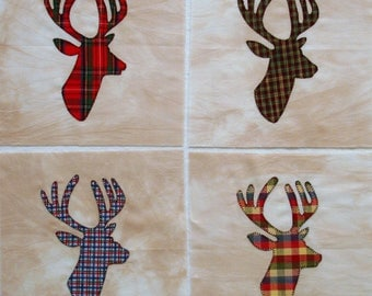 Plaid Buck Head Appliqued Quilt Blocks