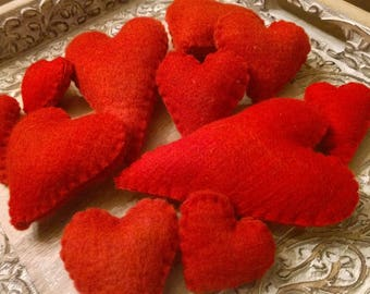 Red wool hearts