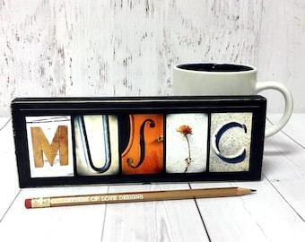 Music Gift, Music Wood Sign, Music Art, Musician Gift, Music Teacher Gift, Gifts for Musicians, Singer Gift, Gifts for Singer Piano Gift Art