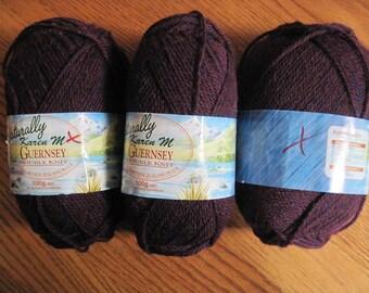 Naturally Karen M Guernsey Yarn 3 Skeins New Zealand Wool DK Weight Burgundy Tweed Free US Shipping