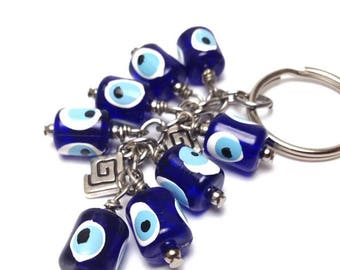 Greek evil eye keyring - dark blue - Greek mati - Car/home gift - Made in Greece - Lucky amulet - Greek keyring - Greee - Car gift