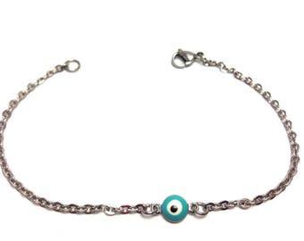 Evil eye bracelet  - turquoise eye - stainless steel - protection - Greek jewelry