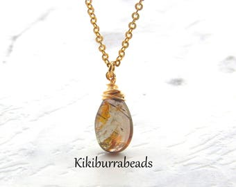 Andalucite Necklace,Andalucite Jewelry,Brown,Wire Wrapped Gemstone Necklace,Gold Filled