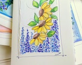 "Sun Flowers  Watercolor Original Strathmore Card 5"""" x 6 7/8"" & Envelope Blank  betrueoriginals"