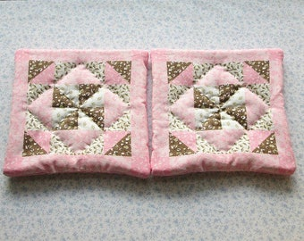SALE  was 9.50 NOW 6 pink and brown hand quilted set of 2 potholders hot pads