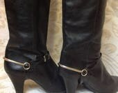 80s Black Slouch Boots Pointy Heeled US 8 EU 38-39 UK 6