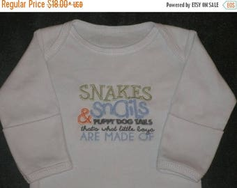 ON SALE Boys Layette What Boys are Made of Snakes and Snails Puppy Dog Tails Coming Comming Home Outfit baby Gift