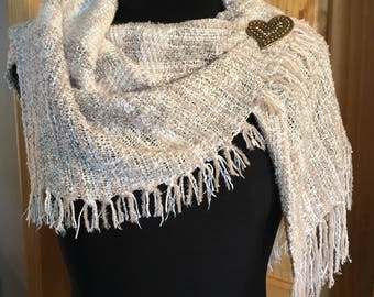 Handwoven Shrug shawl cream neutral, handspun cotton