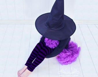 Purple and Black Striped Girls Halloween Leg Warmers