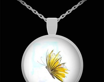 Yellow Butterfly Pendant Necklace - Wearable Art Jewelry - Created from Original Painting