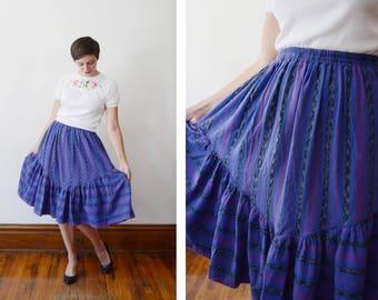 1980s Purple Guatemalan Skirt - S/M/L