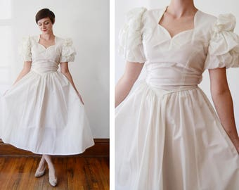 As Is  Party Lines by Domb Late 1940s Wedding Dress with Puff Sleeves - XS/S