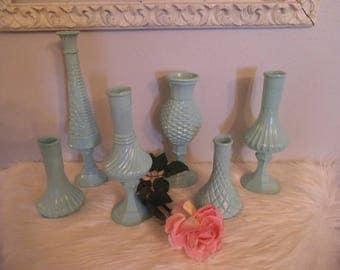 5 upcycled Robin's Egg ~ Tiff Blue Pedestal Vases ... Romantic Shabby chic Aqua ... cottage Wedding