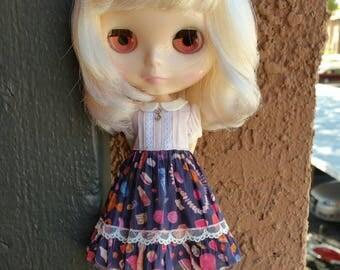 Babydoll dress for blythe - Lavender/Navy