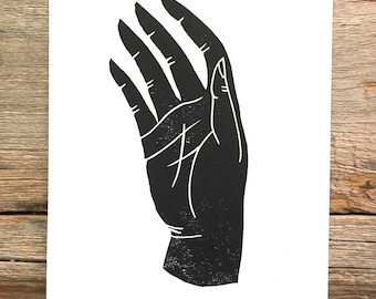 Hand | Linoleum block relief print of hand