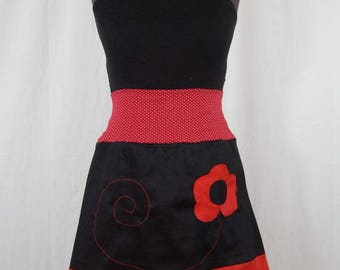Yuki flower red and black skirt and belt with polka dots