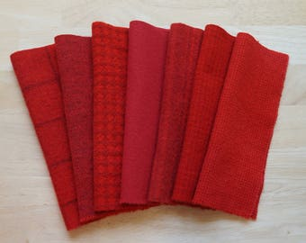 Red Hand Dyed Felted Wool Fabric Perfect for Rug Hooking, Quilting, Wool Applique, and Sewing by Quilting Acres 5215C